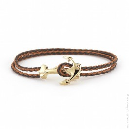 Anchor moka leather bracelet 18k gold over brass