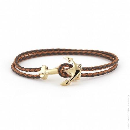 Bracelet cuir tressé moka ancre plaquée or