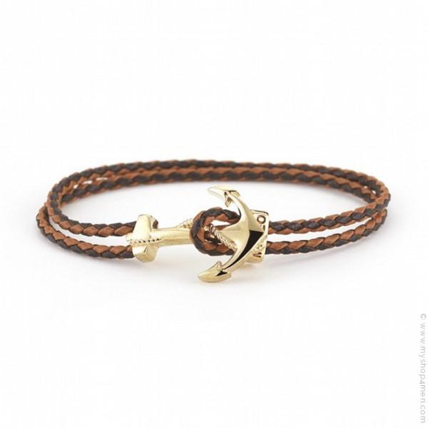 Populaire Bracelet cuir tressé moka ancre plaquée or - MyShop4Men GF81