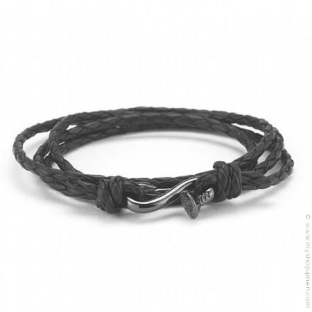 Bracelet clou plaqué argent rhodié tressé noir