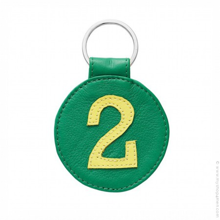 Green and yellow Leather keychain n°2