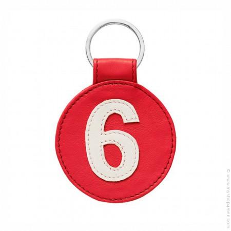 Porte clé en cuir n°6 rouge et blanc