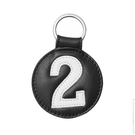 Porte clé en cuir n°2 noir et blanc