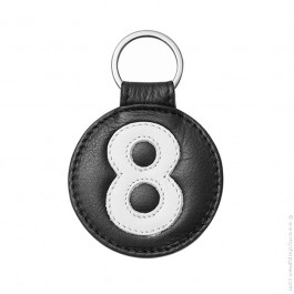 Black and white leather keychain n°8