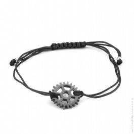 Bracelet roue argent rhodié noir