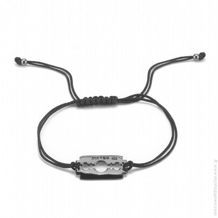 Bracelet razoir argent rhodié noir