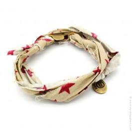 Bracelet Vintage étoiles bordeaux