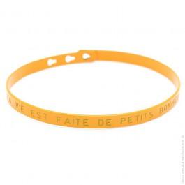 Bracelet La vie est faite de petits bonheurs orange