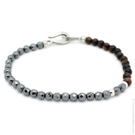 Bracelet crochet argenté patiné