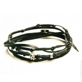 Bracelet tête de mort 3 tours noir