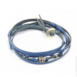Bracelet tête de mort 3 tours bleu