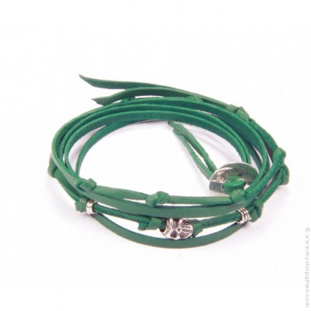 Bracelet tête de mort 3 tours vert