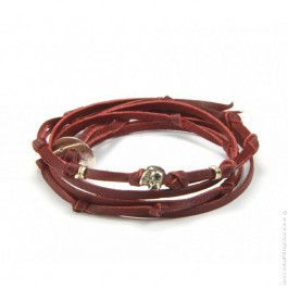 Silver skull tree turn burgundy bracelet