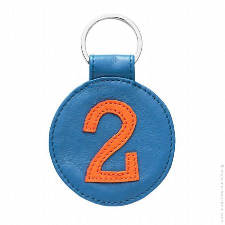 Porte clé en cuir n°2 bleu et orange