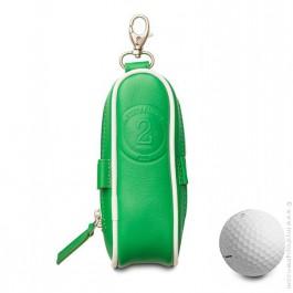 Etui balles de golf en cuir vert