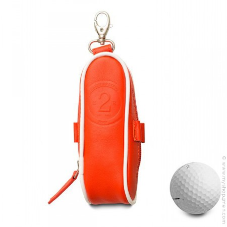 Etui balles de golf en cuir rouge