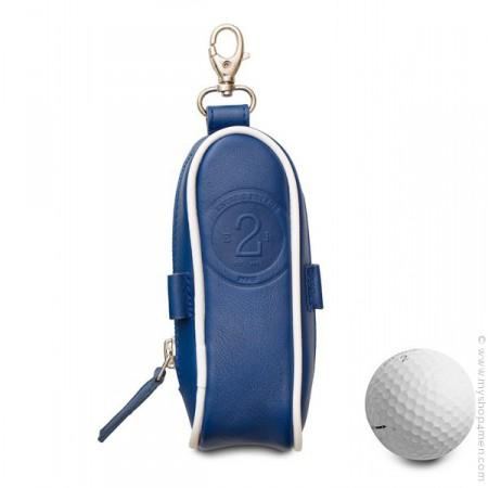Etui balles de golf en cuir bleu