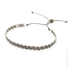 Bracelet tresse en argent vieilli