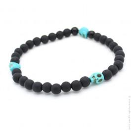 Bracelet 3 têtes de mort turquoise