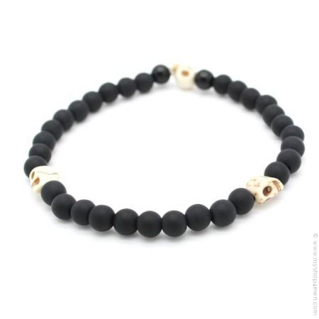 Bracelet 3 têtes de mort ivoire