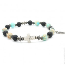 Cross bracelet with onyx and imperial turquoise