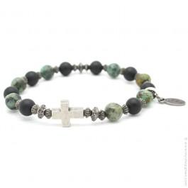Bracelet croix et onyx et green turquoise