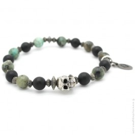 Bracelet tête de mort et onyx et green turquoise