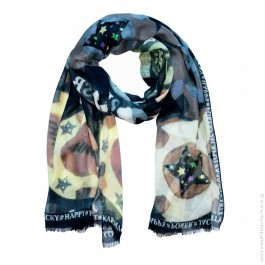 Black london skull scarf