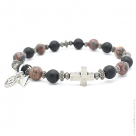 Cross bracelet with onyx and red leopard