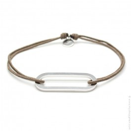 Bracelet argent Figaro taupe