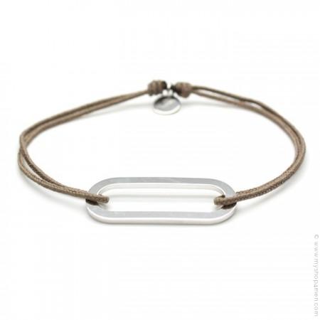 Taupe silver Figaro bracelet