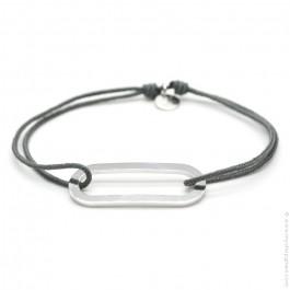 Bracelet argent Figaro gris