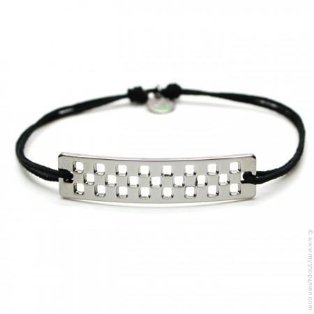 Black silver ruthenium Flag bracelet