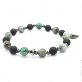Bracelet onyx et green turquoise