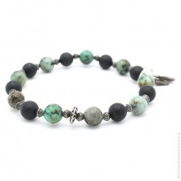 Bracelet with onyx and green turquoise