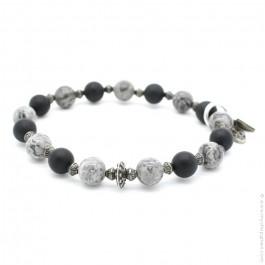 Bracelet with onyx and jasper grey