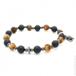 Bracelet with onyx and old crackle