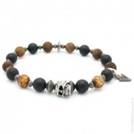 Bracelet tête de mort et onyx et old crackle