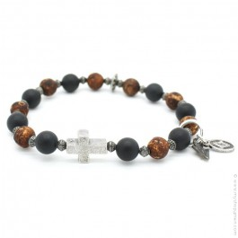 Cross bracelet with onyx and old crackle