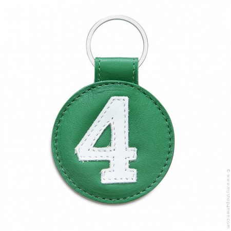 Green and awhite Leather keychain n°4