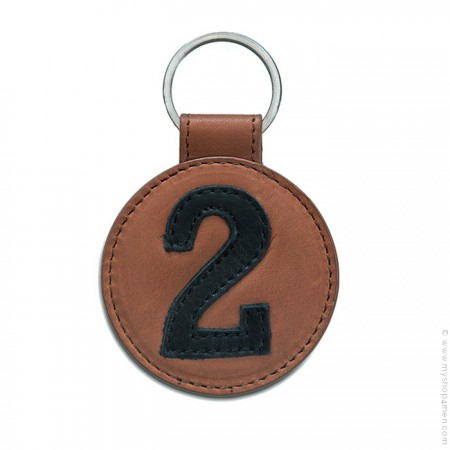 Camel brown and black Leather keychain n°2