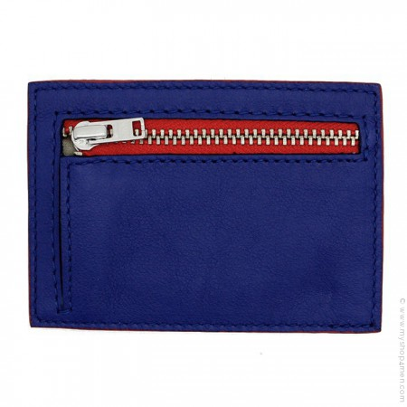 Sustainable purse and card holder in blue and white upcycled leather