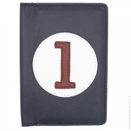 Porte passeport en cuir marine et blanc