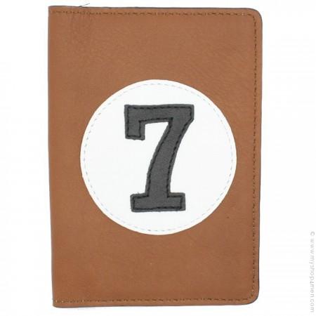 Porte passeport en cuir havane et noir
