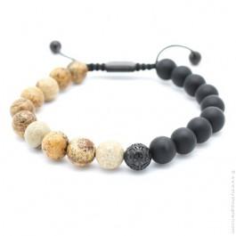 Bracelet Mr Stone noir beige