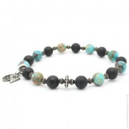 Bracelet onyx et imperial turquoise