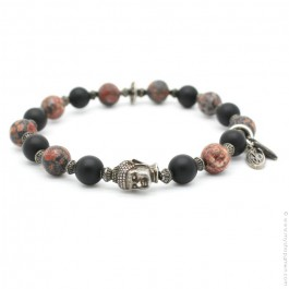 Buddha bracelet with onyx and red leopard