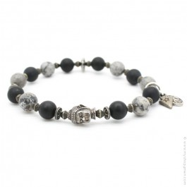 Bracelet buddha et onyx et japser grey