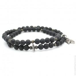 Bracelet double onyx