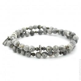 Bracelet double jasper grey